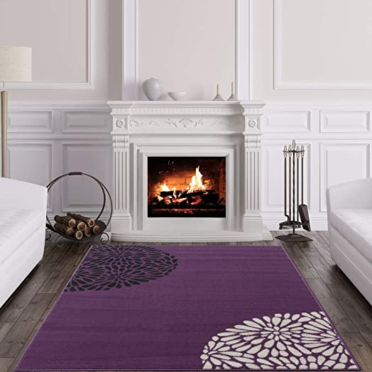 Large Modern Violet Purple Black Cream Plain Area Rug Shiraz – 6 3 x 9 2