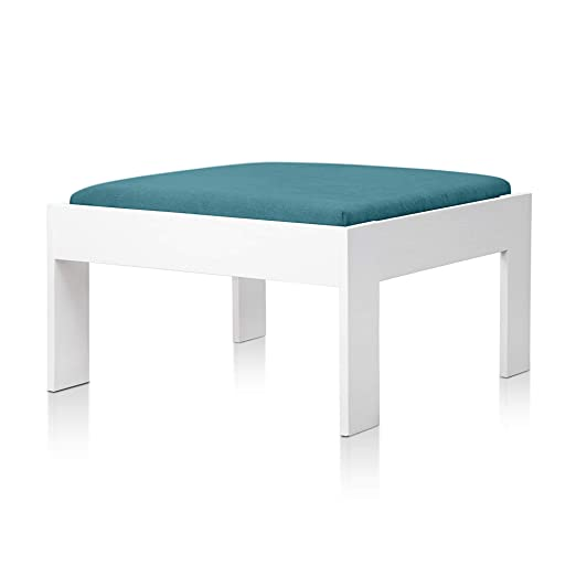 SUENOSZZZ - Sofa Jardin de Madera de Pino Color Blanco, MEDITERRANEO Mod. chaiselonge, Sillon cojín Tela Color Turquesa. Muebles Jardin Exterior. ...