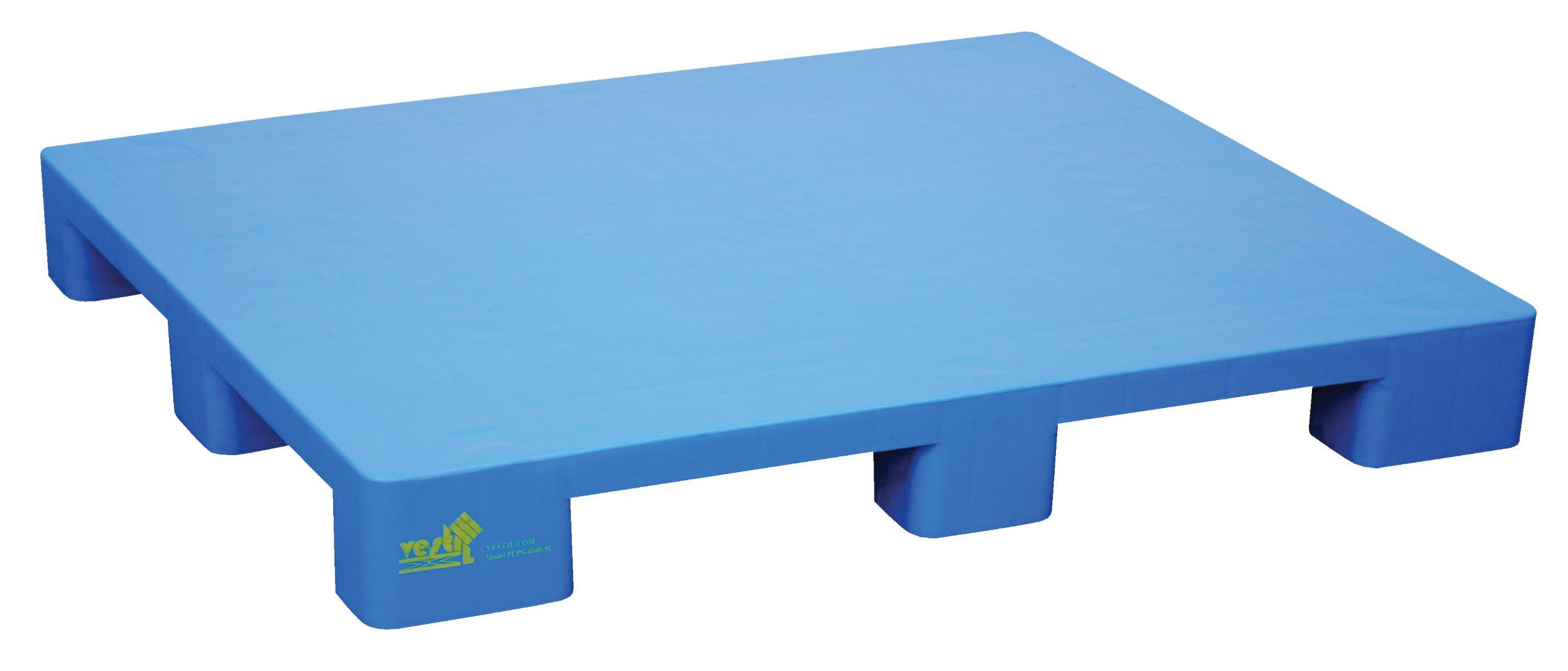 Vestil PLPS-4840-9L Hygienic Blue Polyethylene Solid-Deck Skid with 9 Legs, 8,800 lb. Capacity, 39'' Length, 46-7/8'' Width, 5-1/2'' Height by Vestil