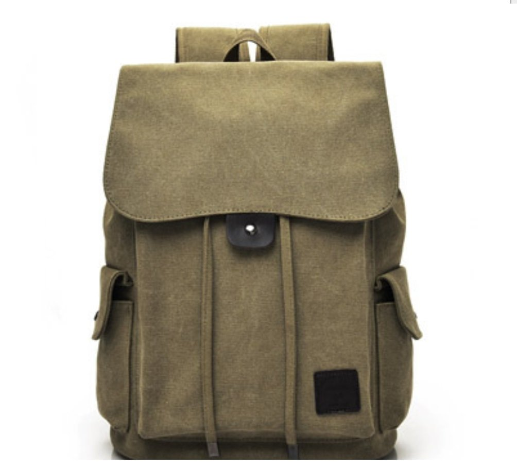 Khaki Fashionable Shoulder Bag Unisex Casual Canvas Travel Backpack High School Bag ZXCV