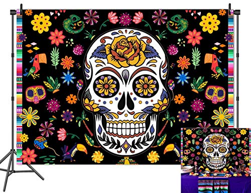 Day Of The Dead Halloween Wallpaper (Qian Mexican Fiesta Sugar Skull Floral Photo Backdrops Day of The Dead Mexican Dia DE Los Muertos Halloween Birthday Party Decoration Photography Background Cake Table Banner Studio Props Vinyl)