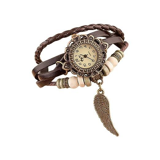 Nikgic 1pc Reloj de Pulsera de Mujer Vintage Reloj de Pulsera de alas Mesa de Estudiante de Moda (Marrón): Amazon.es: Relojes