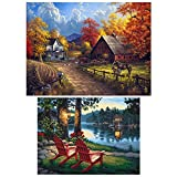 #9: INSANY 2 Pack DIY 5D Diamond Painting Kit, Full Diamond Embroidery Rhinestone Cross Stitch Arts Craft Supply for Home Decoration Village Farm(14X18inch/35X45CM Village River(12X16inch/30X40CM)