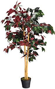 Goplus 4FT Fake Tree Artificial Greenery Plants in Nursery Pot Decorative Trees for Home, Office, Lobby