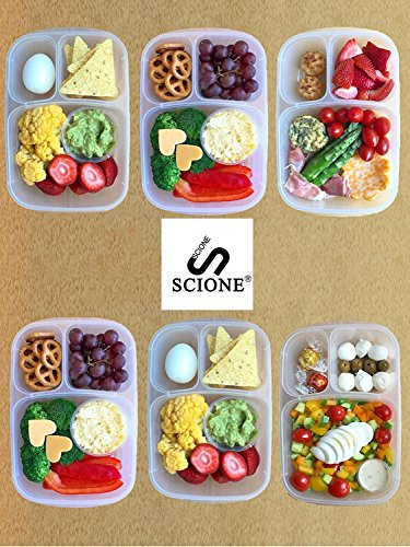 Meal Prep Containers 3 Compartment 10 Pack Food Prep Containers with Lids Portion Control Reauable Freezer Food Storage Plastic Salad Stackable Bento Lunch Box, Microwave, Dishwasher Safe by SCIONE (Image #1)'