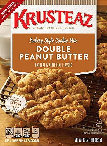 Krusteaz Bakery Style Double Peanut Butter Cookie Mix 16 Oz (Pack of 2) - Peanut Butter Cookie Mix