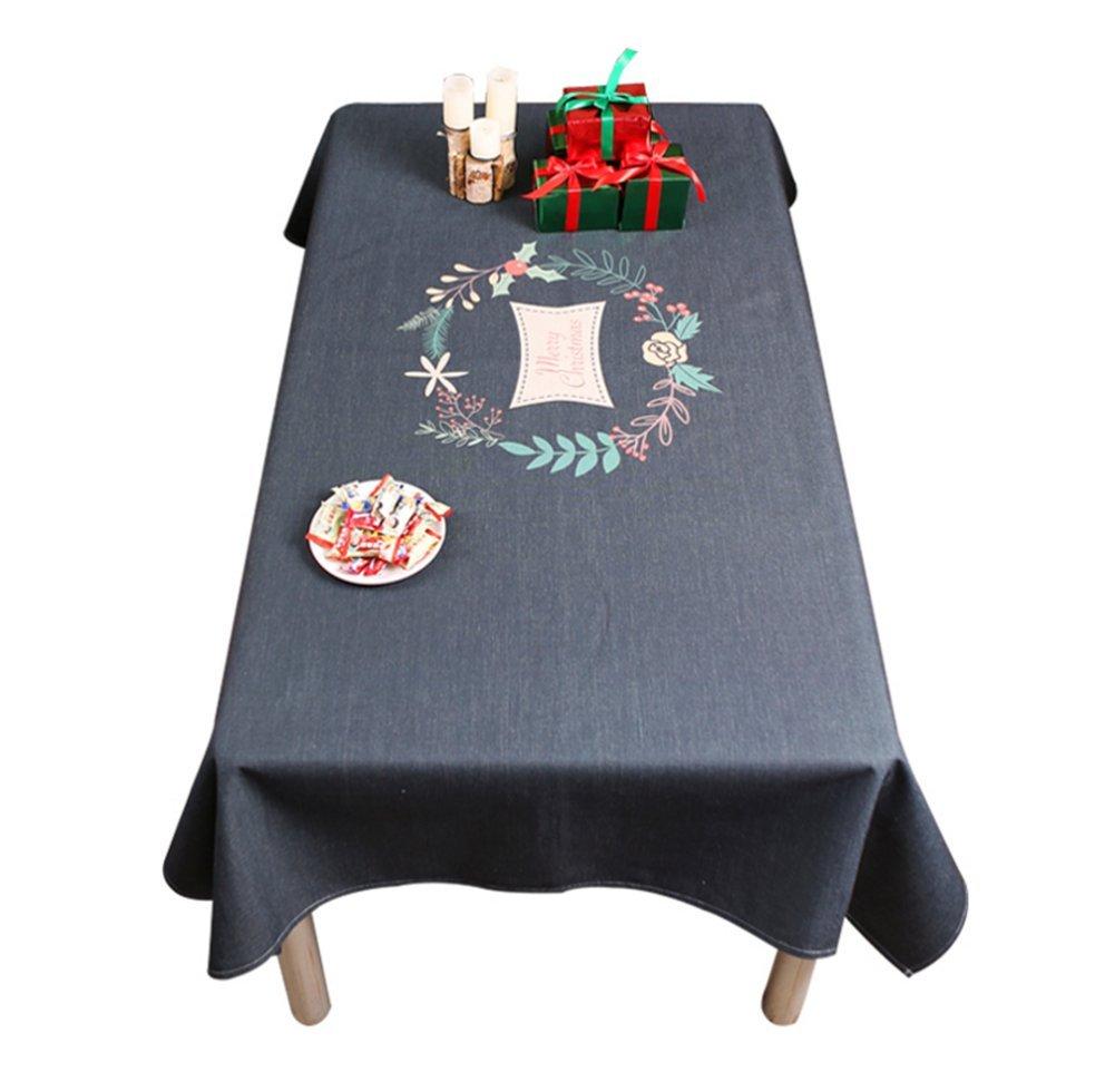 Mantel De Navidad Mantel De Lino De Algodón Mantel De Comedor Té De Mesa Rectangular Cubículo De Escritorio De Computadora Negro,B,140210Cm