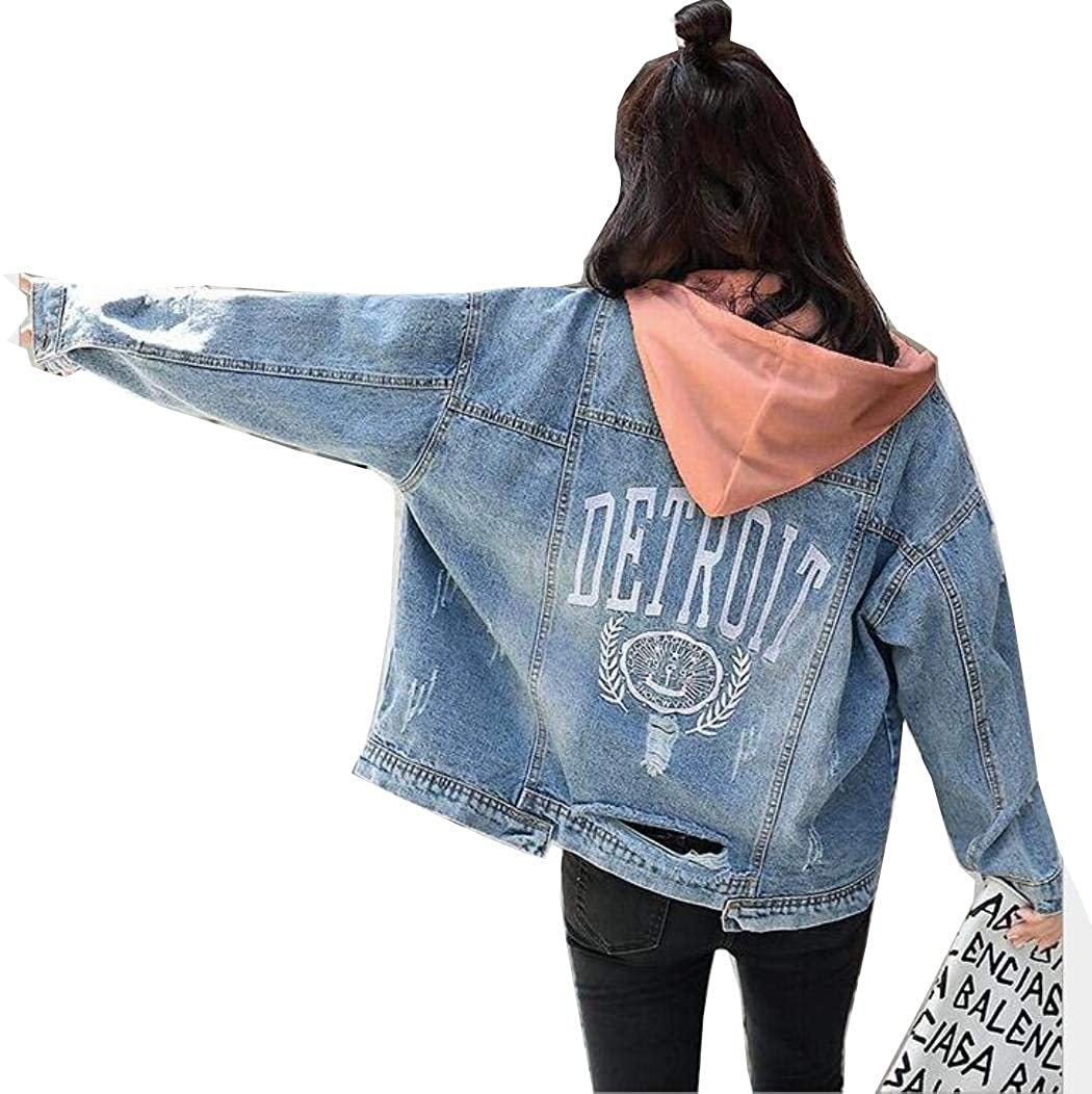 Puaer Spring Autumn Women Letter Embroidery Tearing Hole Jean Coat Denim Jackets