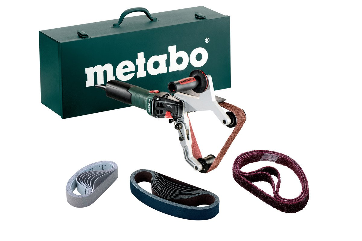 Metabo - 7 Variable Speed Pipe Tube Sander Kit - 1, 650-5, 500 min - 13.5 Amp W Lock-On, Accessory Set 602243620 15-180 Set , Inox - Stainless Steel Finishing