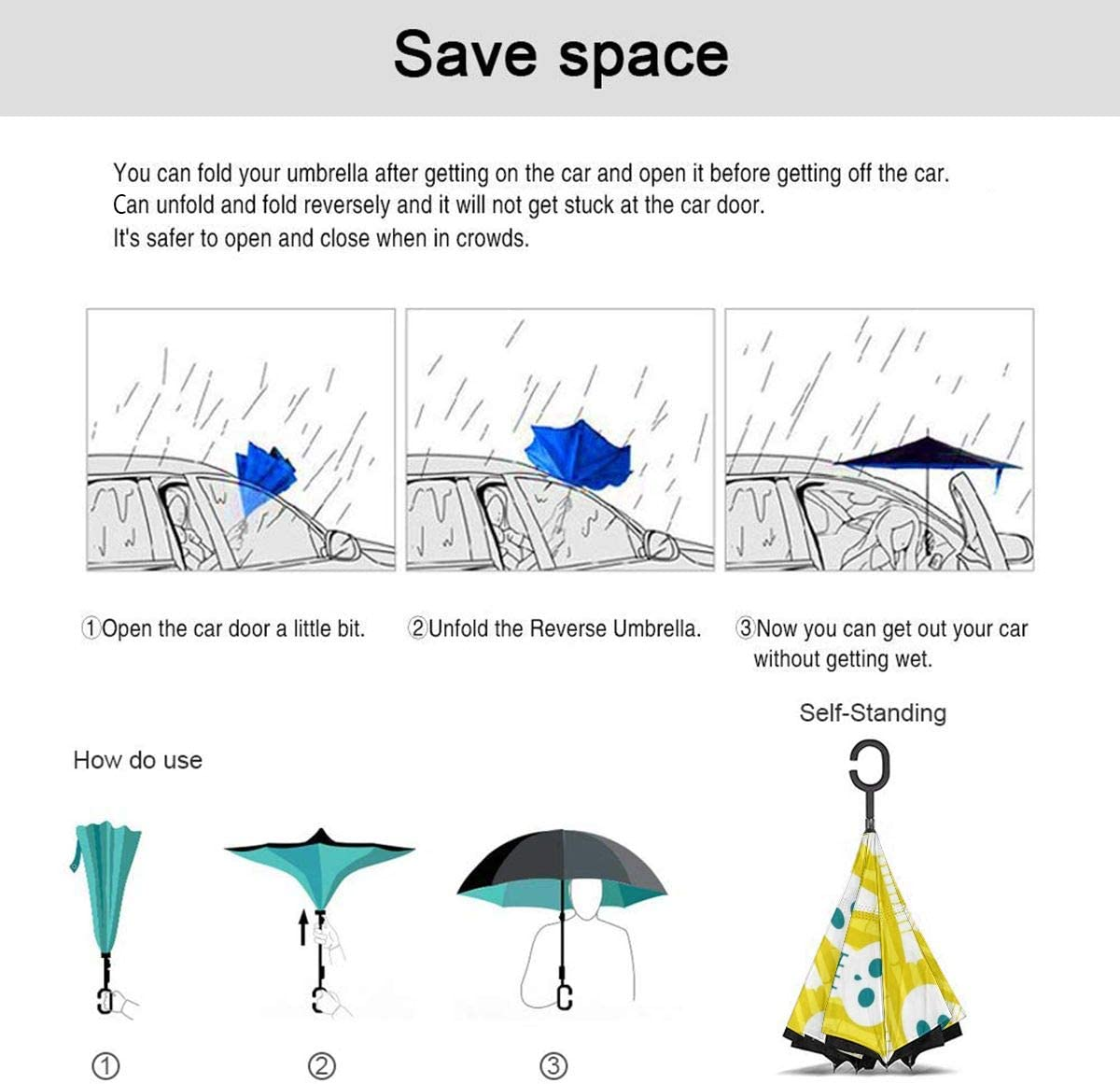 Self Stand Upside Down with C-Shaped Handle Folding Reverse Umbrella for Car Rain Outdoor PYFXSALA Skull Guitar Windproof Inverted Umbrella Double Layer UV Protection