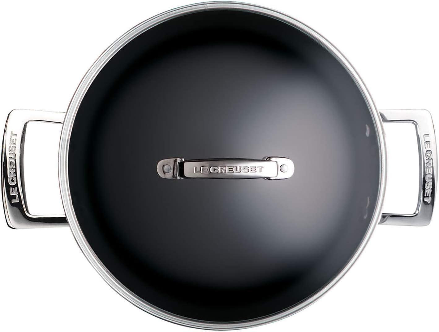 Anthracite//Argent/é Faitout en Aluminium Forg/é avec Couvercle en Verre /Ø 24 cm Compatible avec Toutes Sources de Chaleur y Compris Induction Sans PFOA Le Creuset