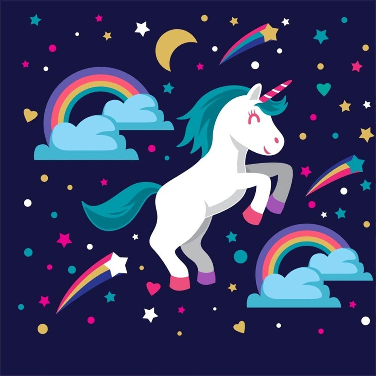CSFOTO 5x5ft Background For Cartoon Unicorn Happy Birthday Bash Decor Graphy Backdrop Rainbow Meteor Cute Smile Joy Sweet Baby Shower Party