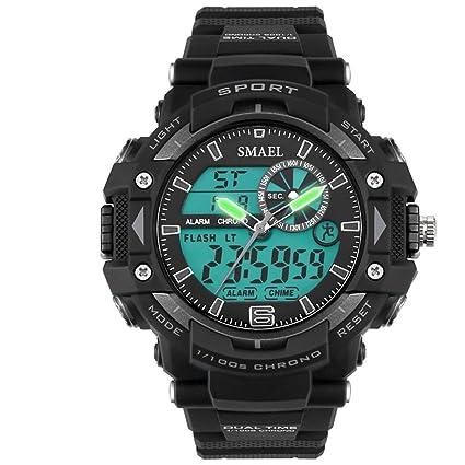 LLW Relojes Deportivos Reloj Digital para Hombre Puntero + Pantalla Digital 30 Metros cronógrafo Impermeable Reloj