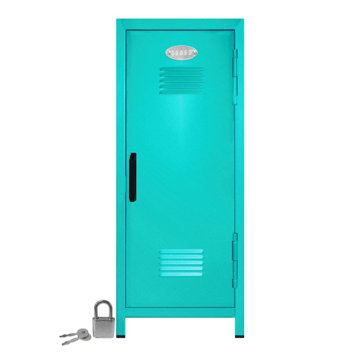 Mini Locker with Lock and Key Teal -10.75'' Tall x 4.125'' x 4.125'' by Mini Lockers by Magnetic Impressions