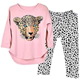 7 yr old girl clothes - Kidlove Leopard Head Print T-shirt Skinny Legging Pants Girls Clothing Set Outfit Girls Clothes Pajamas, 7-8 Years Old,  Pink