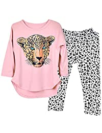 Kidlove Kids Girls Leopard Pattern Tops +Pants Leggings Casual Clothes Set Daily Wear