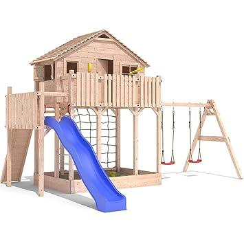 Cool Spielturm Baumhaus Stelzenhaus Spielhaus Sandkasten + Rutsche +  AM13