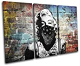 Bold Bloc Design - Marylin Tattoo Graffiti Grunge Urban 90x60cm TREBLE Canvas Art Print Box Framed Picture Wall Hanging - Hand Made In The UK - Framed And Ready To Hang
