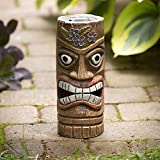Bits and Pieces - Solar Tiki Statue - Whimsical Glowing Light-Up Outdoor Garden Sculpture
