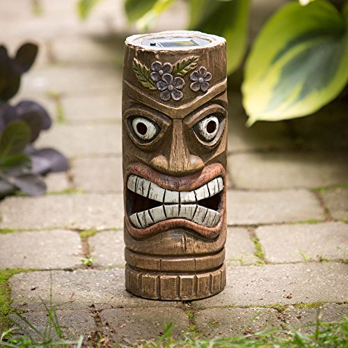 Bits and Pieces – 12 Inch Tall Solar Tiki Statue – Whimsical Light-Up Lawn and Garden Sculpture