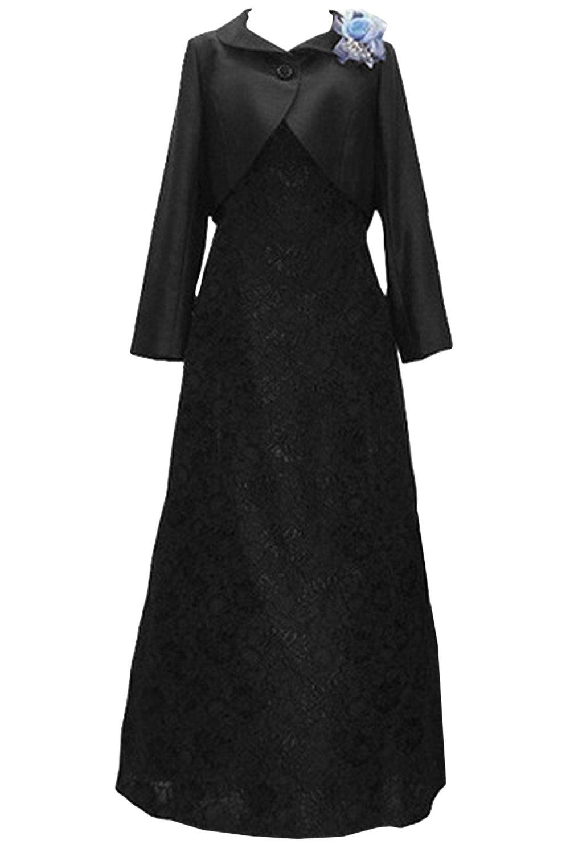 (ウィーン ブライド)Vienna Bride 披露宴用母親ドレス ママのドレス ロングドレス 新婦の母ドレス ボレロ 2ピースドレス 紺色 演奏会 発表会 パーティー お呼ばれ B06XNRFYM7 29W ブラック ブラック 29W