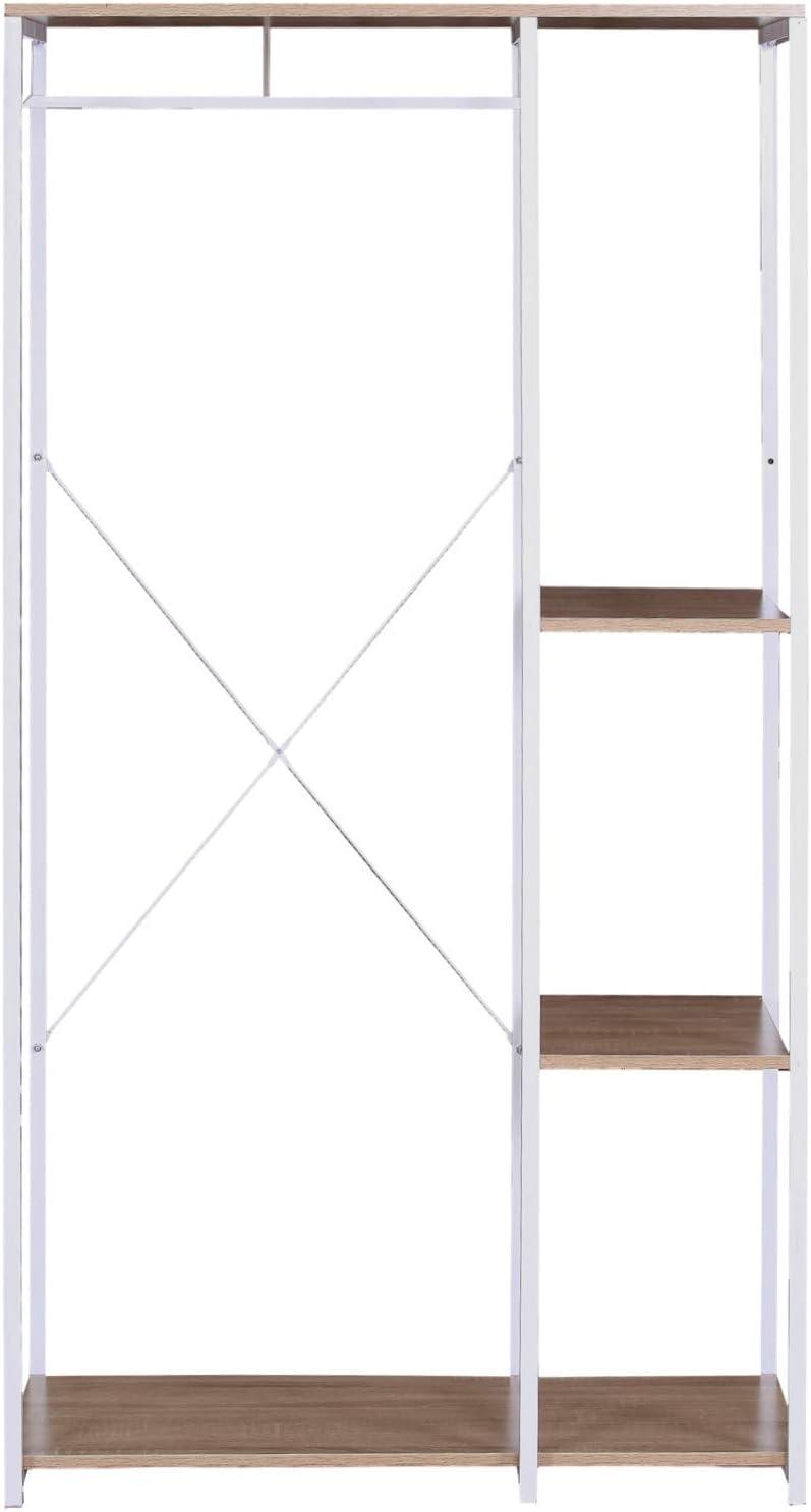 eSituro SGR0045 Kleiderst/änder W/äschest/änder Garderobenst/änder H/ängeregal mit Schuhregal Holz Metall Wei/ßrohre und Eiche Platte