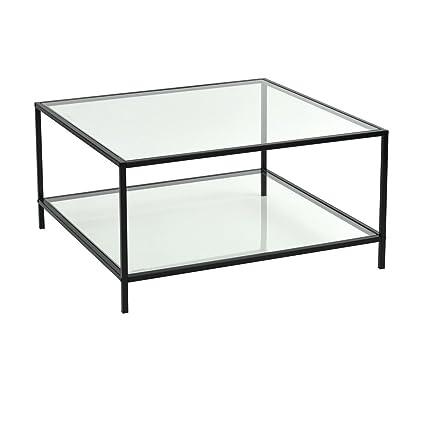 design de qualité 8df74 4ab54 FURNITURE-R France Table Basse en Verre Rectangulaire Cadre en Métal  Panneau vitré Surface Table de Salon HLP 80x80x42cm, Noir