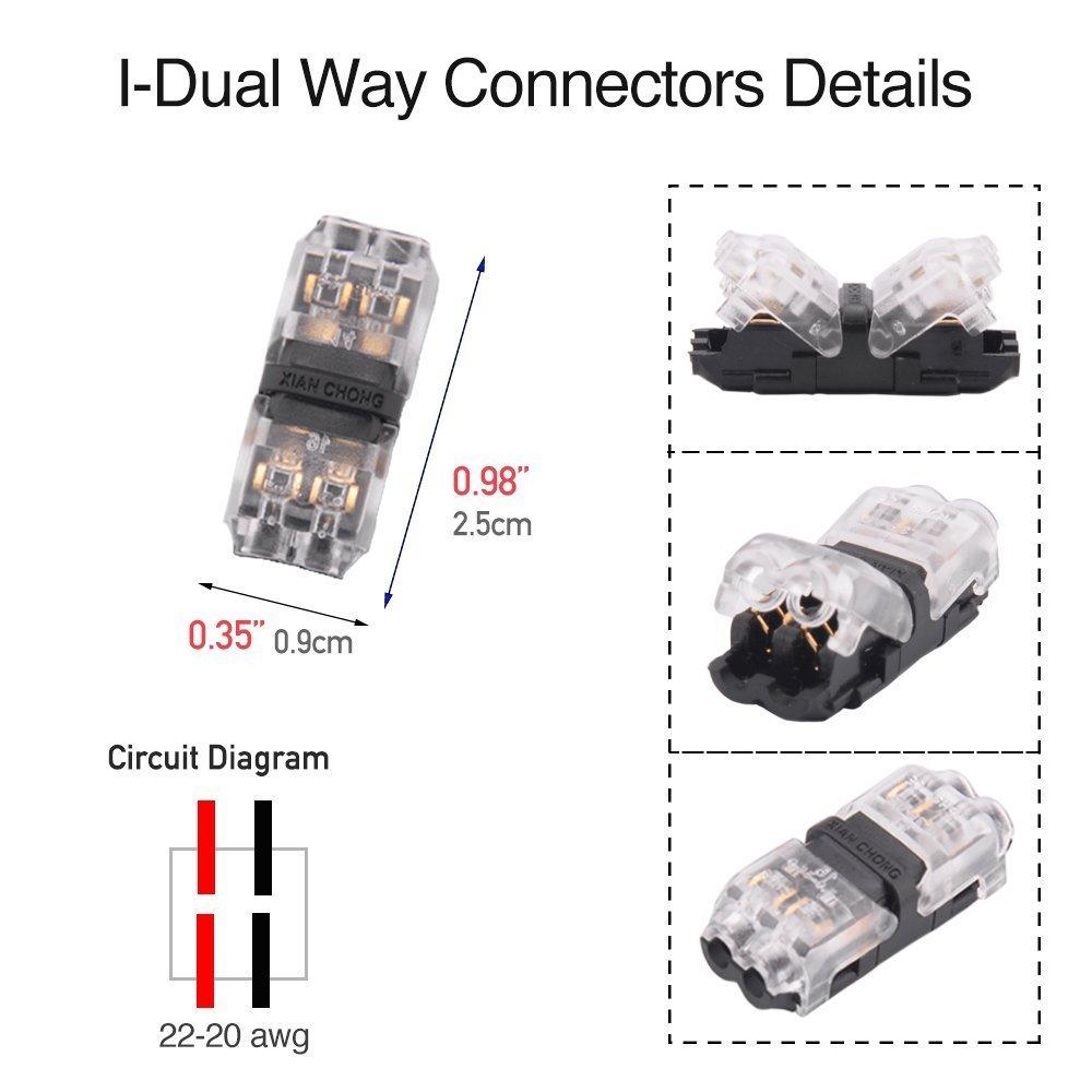Pack de 12 baja tensi/ón T tap conectores T tipo Pin 2 sin soldadura con ninguna extracci/ón de alambre para Mid-span ramificaci/ón de los cables conexi/ón 20 22 AWG Cable Conectores