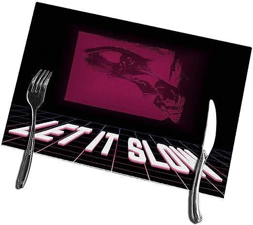 Manteles individuales para mesa de comedor Juego de 6 tapetes de mesa Vaporwa Let It Slow Snail hechos por el ojo humano 12 X18: Amazon.es: Hogar