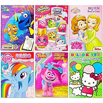 Kids Coloring & Activity Book Featuring Trolls Hello Kitty My Little Pony Finding Dory Sofia the First Shopkins   6 Different Jumbo Books   Home Pre School Elementary Grades   Educational Gift Set