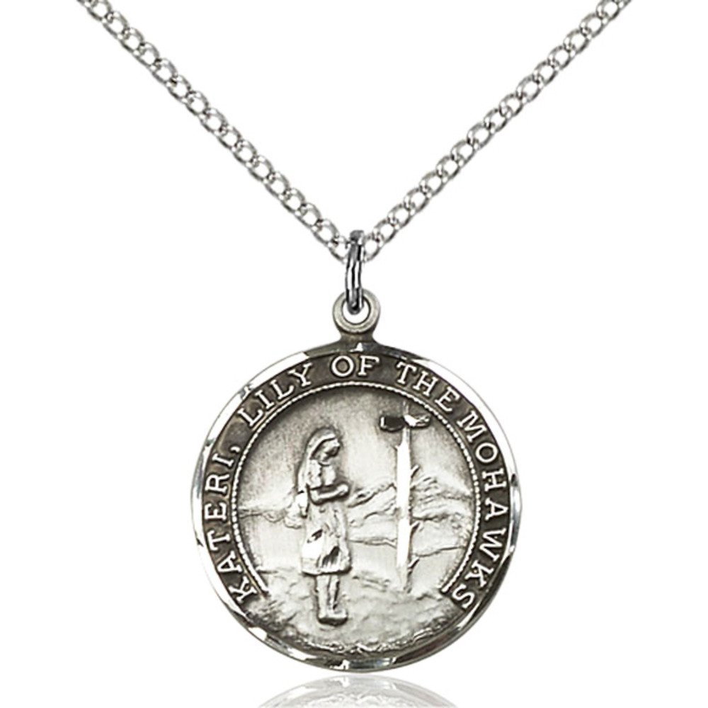 Sterling Silver St. Kateri Pendant 3/4 x 5/8 inches with Sterling Silver Lite Curb Chain