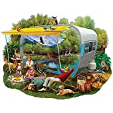 """Camping Trip is a 750 piece jigsaw puzzle designed by Thomas Wood. It measures 26-1/2"""" in diameter when completed. Since the 16th century, jigsaw puzzles have been a favorite pastime for all ages. Now, with technological advances, Bits And Pieces has..."""
