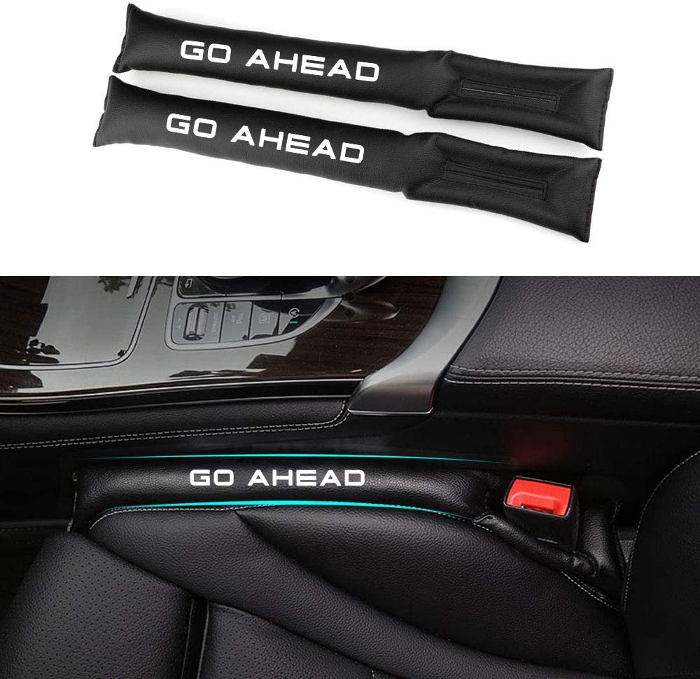 Tuqiang Car Seat Gap Filler Pad Cover PU Leather with Red Sports Reflective Label Interior Leakproof Protective Pad 2 Pcs