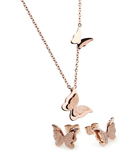 Amazoncom WDSHOW Rose Gold Plated Stainless Steel Butterfly