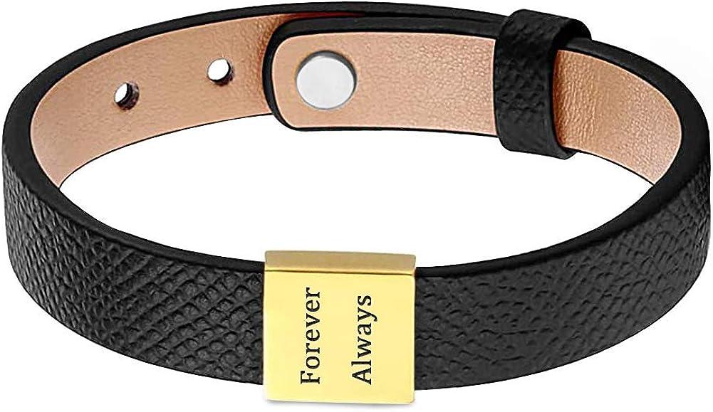 Custom Mens Leather Bracelet Personalized Name ID Bracelet Kids Name Bracelet Gift for Dad Husband