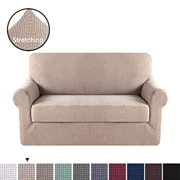 Amazon Com H Versailtex 2 Pieces Sofa Slipcover Slip Resistant