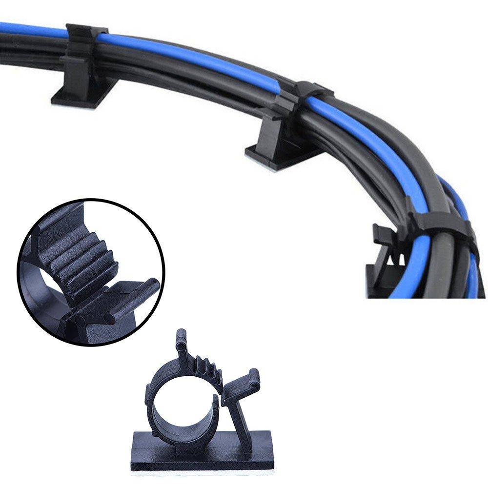 50 Stück selbstklebend Kabel-Clips Wire Management Kabelbinder ...