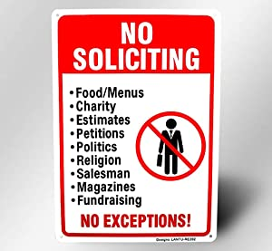 "Metal No Soliciting Sign for House Door 10""x14"" Rust Free 30-mil Thick Aluminum,UV Ink Printing,Durable/Weatherproof Up to 7 Years Outdoor for House"