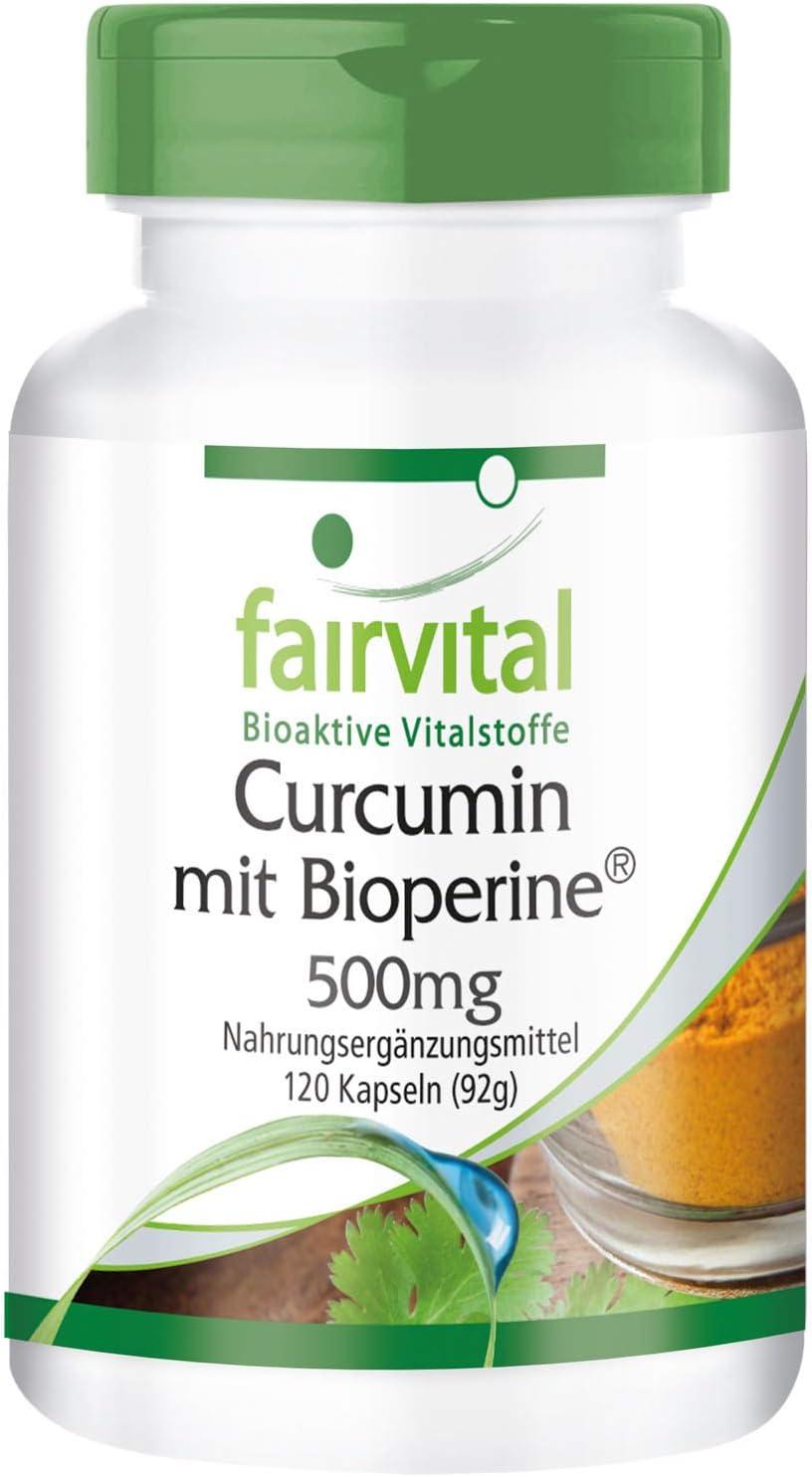 Curcumina + Piperina (Bioperine) 500mg - Extracto de Cúrcuma + Pimienta Negra - VEGANO - 95% de Curcuminoides - 120 Cápsulas - Calidad Alemana