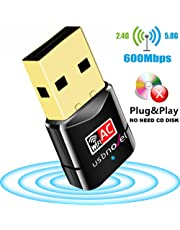 USB Wifi Adapter 600Mbps USBNOVEL Dual Band 2.4G / 5G Wireless Wifi Dongle Network Card for for Laptop Destop Win XP/7/8/10 , Mac OS X 10.4-10.12.2
