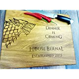 Dinner is coming. Personalized cutting board. Custom Laser engraved cutting board. Custom personalized cutting board. Wedding gift. Housewarming gift. Stark