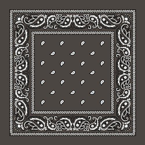 "(Large 100% Cotton Paisley Bandanas (22"" x 22"") - Dark Grey Single Piece 22x22 - Use For Handkerchief, Headband, Cowboy Party, Wristband, Head Scarf - Double Sided)"