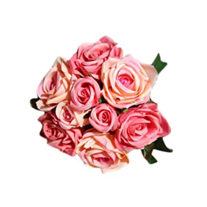 Delicieux Fantasy Closet 9 Pcs Artificial Flowers Rose Bouquet Gift Home Wedding  Bridal Decoration Garden Cherry Pink