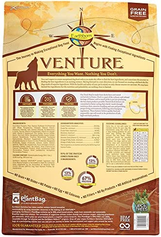Earthborn Holistic Venture Duck Pumpkin Grain Free Dry Dog Food
