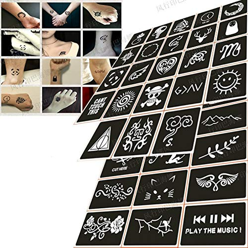 Henna Stencils 50pcs/Set Glitter Tattoo Stencil for Men Woman Kids Cute Drawing Templates Airbrush Henna Tattoo Stencils for Painting by Henna Stencils