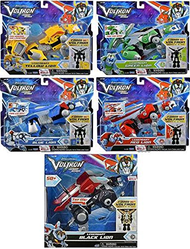 Voltron Red, Yellow, Blue, Green and Black Lion Assortment Figures Set of 5