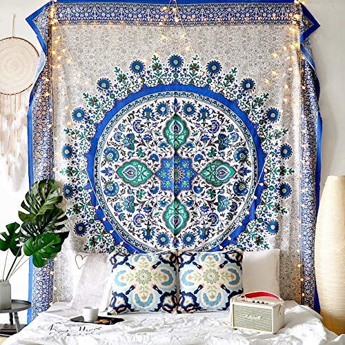 Flber Sunflower Tapestry Wall Hanging Medallion Tapestry Blue Curtain,60
