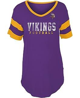 New Era Minnesota Vikings Women s Double Stripe Short Sleeve V-Neck T-Shirt cc9d58528