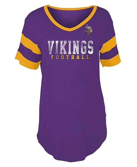 New Era Minnesota Vikings Women s Double Stripe Short Sleeve V-Neck T-Shirt  X 1f3e9604b
