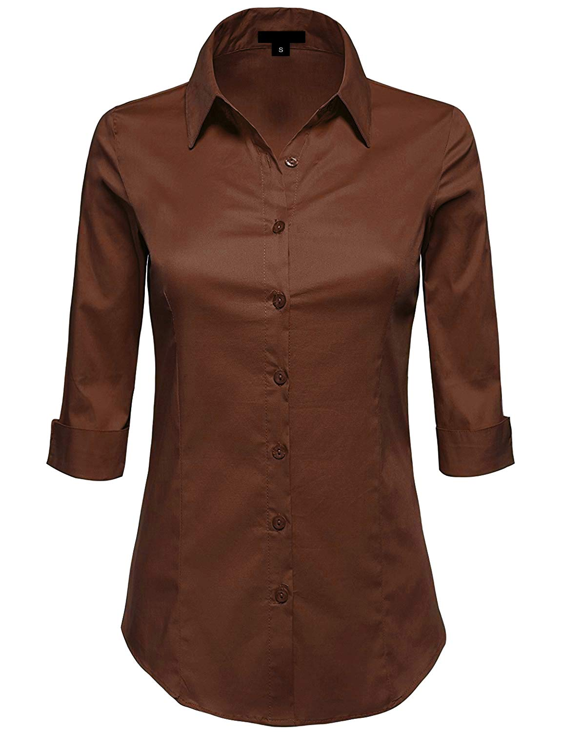 MAYSIX APPAREL Plus Size 3/4 Sleeve Stretchy Button Down Collar Office Formal Shirt Blouse For Women BROWN 1XL